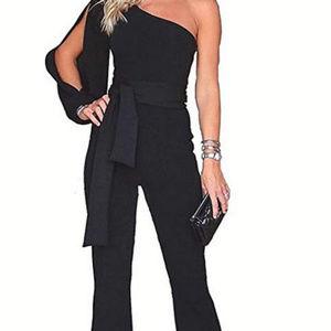 Edgy Couture Pants - Black Off Shoulder Business Suit Jumpsuit Romper